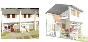 The rowhouse with loft and store space provision to encourage home-based livelihood activities.